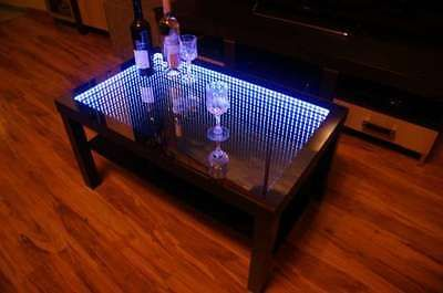 NEW COFFEE TABLE 90x55cm GLASS LED 3D WITH SOUND SENSORS