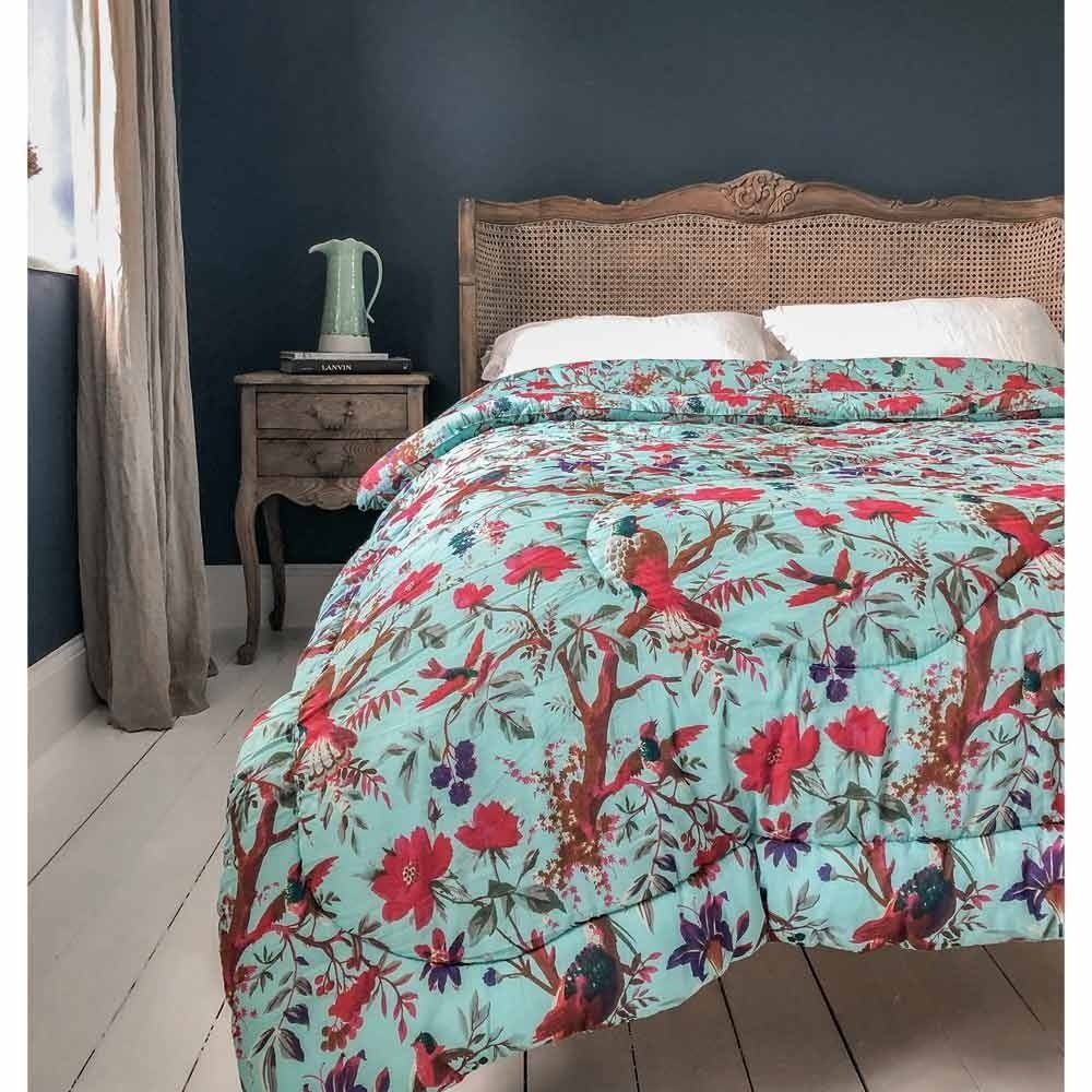 Blossom In Paradise Blue Cotton Quilted Bedspread Bed Spreads Bed Sizes Quilted Bedspreads