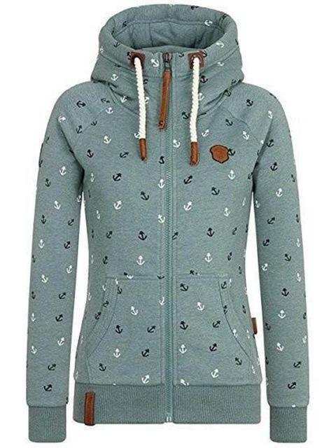 Autumn women hoodie plus size zipper print hat high collar