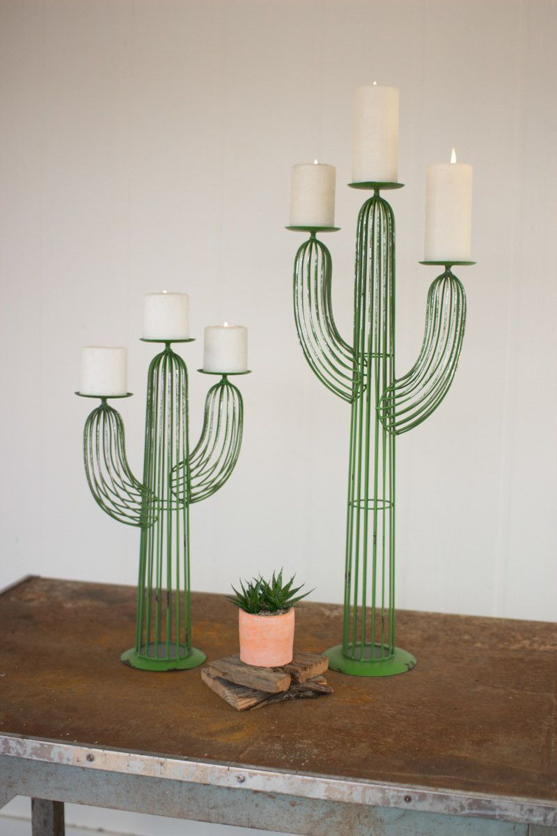 "Why We Love It Wire Cactus Candle Holders, Set of 2 More Information Dimensions: Small - 12""L x 5""W x 20""H, Large - 12""L x 6""W x 30""H"