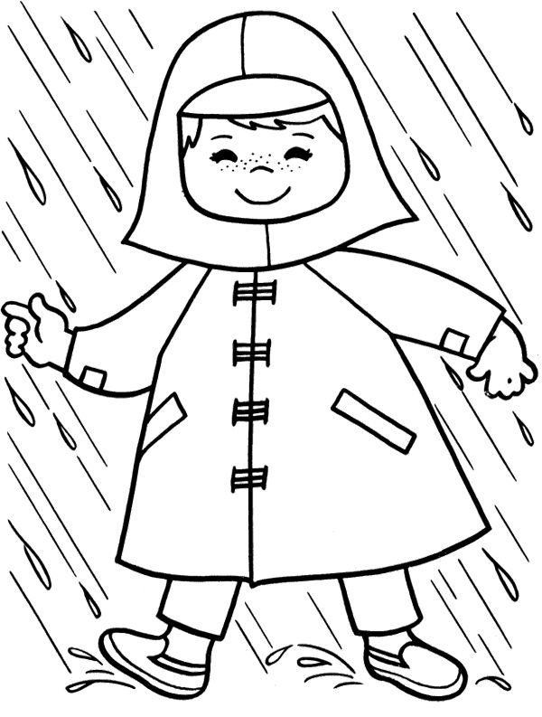 Raincoat Children Coloring Page | coloring pages for my class ...