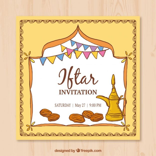 Download Hand Drawn Iftar Invitation For Free Iftar Photo Invitations Card Template