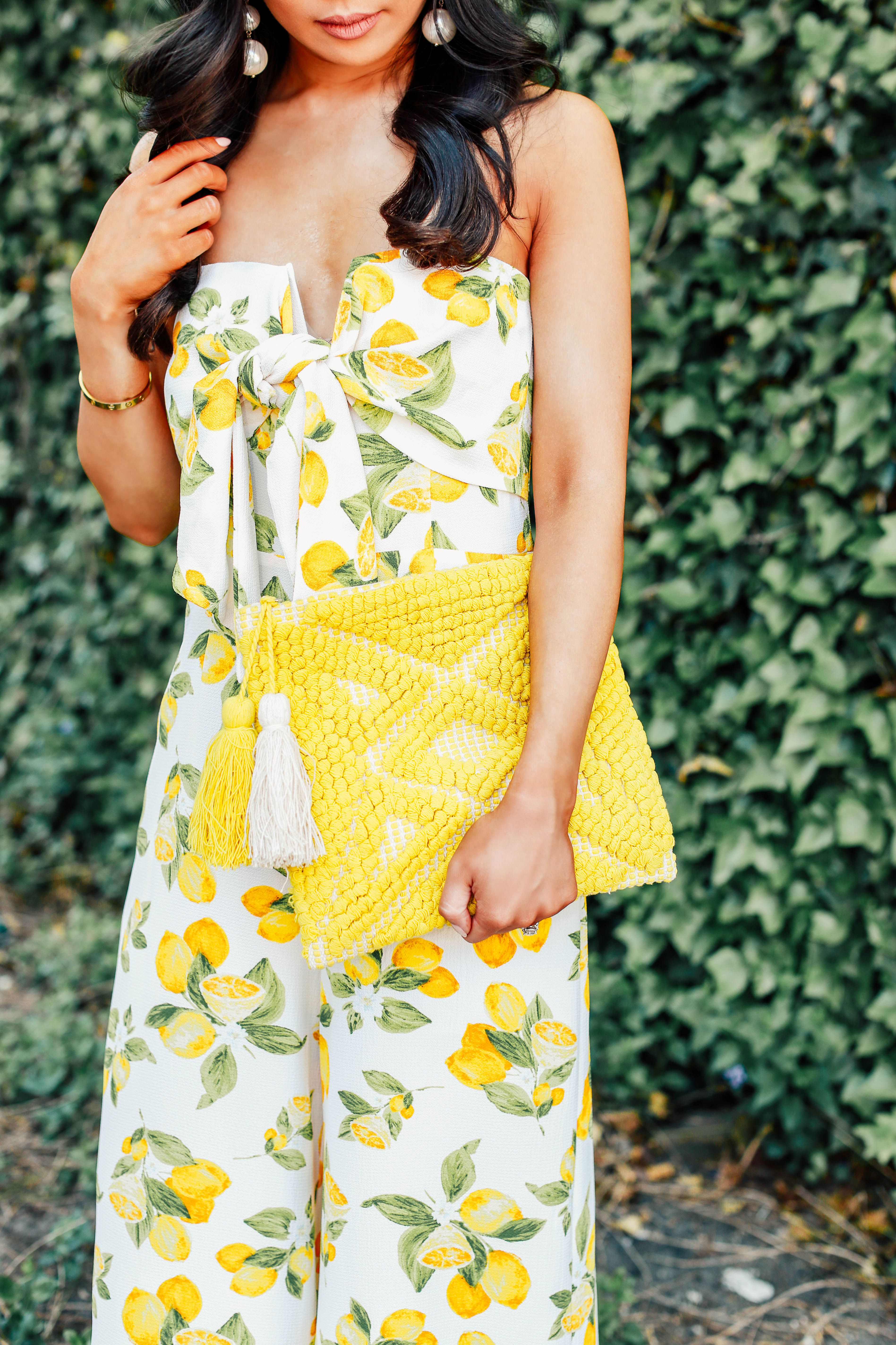 Lemon Print Jumpsuit Perfect For A Summer Outfit Of The Day Spring Outfits Preppy Wedding Guest Outfit Fall Fashion