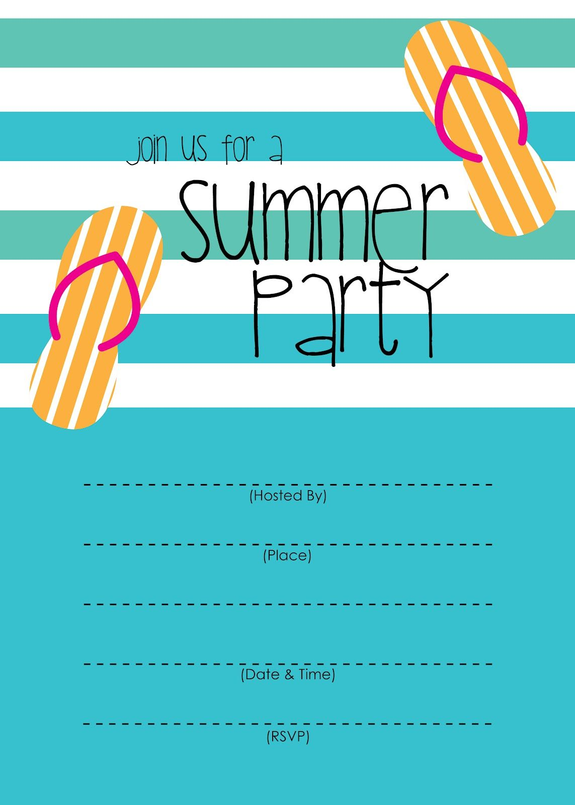 Summer Party Invitation Free Printable Summer Parties Party - Party invitation template: casino theme party invitations template free