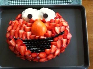 Elmo cake for girls birthday using no red dye!