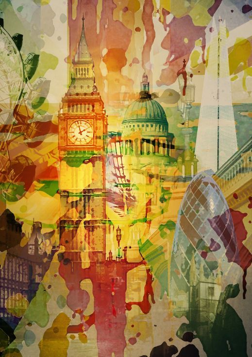 ARTFINDER: 'London Splatter, 2015' - Abstract Ex... by Czar Catstick - Abstract Expressionist London Skyline including The Houses of Parliament, Big Ben, The River Thames, St Pauls, The Gherkin, London Eye and The Shard.   Mad...