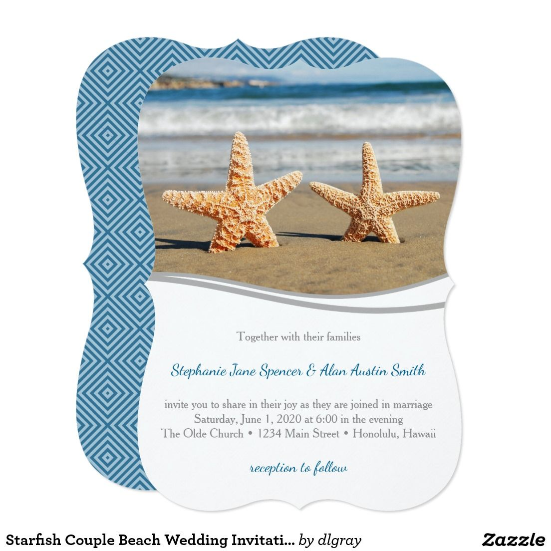 Starfish Couple Beach Wedding Invitation A Starfish Couple Posing On