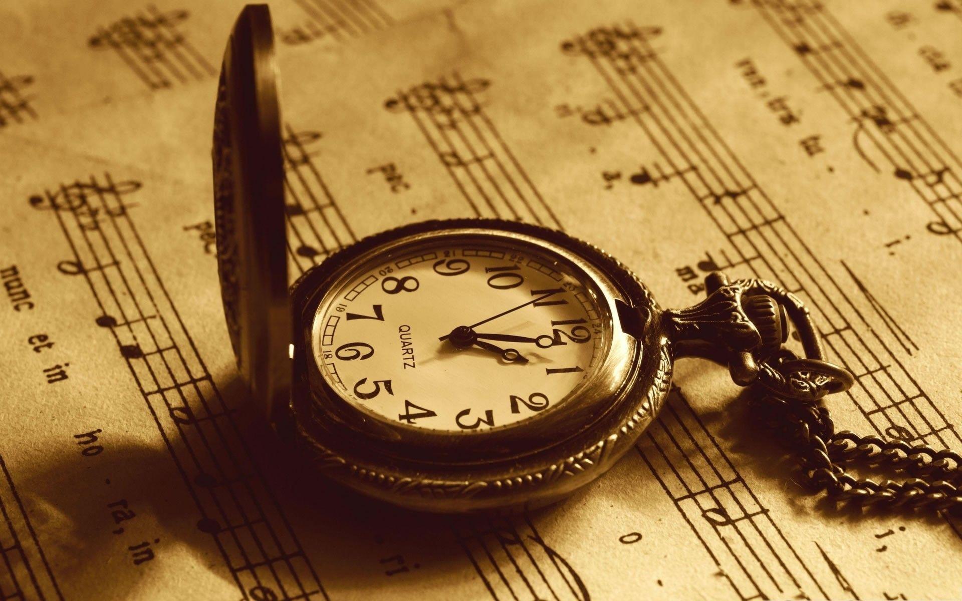 Clocks Musical Notes Paper Sepia Vintage Wallpapers Hd Pocket Watch Vintage Clock Vintage Music
