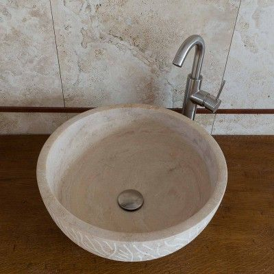 Lavabo tondo da appoggio in travertino decorato #lavabo #lavandino ...