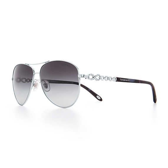 156ef7a9000e Tiffany Infinity aviator sunglasses in silver-colored metal and acetate.