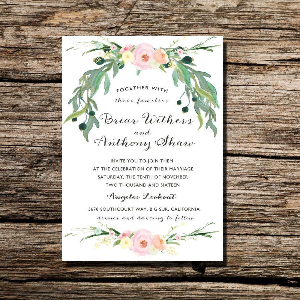 Printable Wedding Invitation Watercolor Floral Wreath Invite - DIY ...