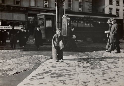 Newsboy on Street Corner by Lewis Wickes Hine. 1909 (Back when children HAD to work.)