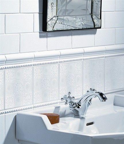 White Gloss, Dot Border, Vu0026A Ceramic Moulded Relief Tile 2.62gbp Ea 15cm X Part 51
