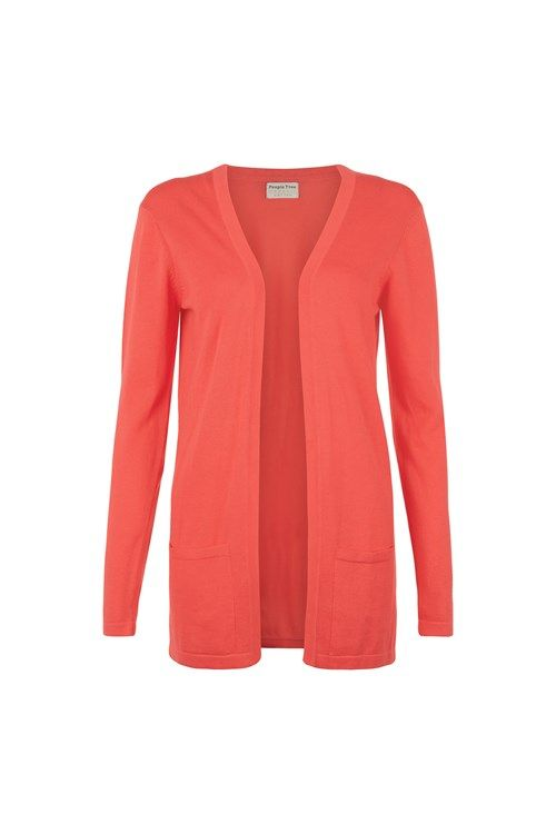 Coral knitted open cardigan in 100% organic Fairtrade certified ...