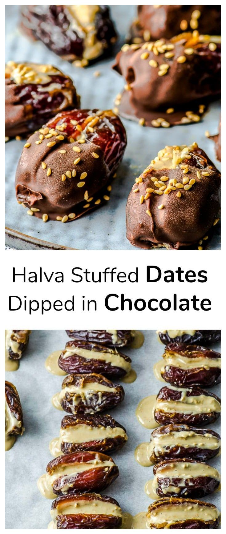 Halva Stuffed Dates Dipped In Chocolate