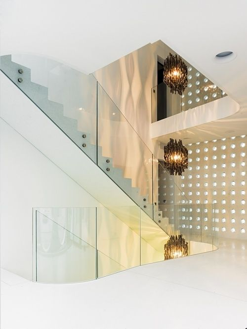 Modern stairs to complement this home's all white interior http://www.lovebeautysoul.com/