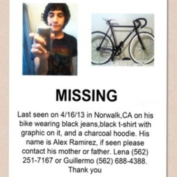 Alex Ramirez, missing person from Norwalk, CA Missing Persons - missing person picture