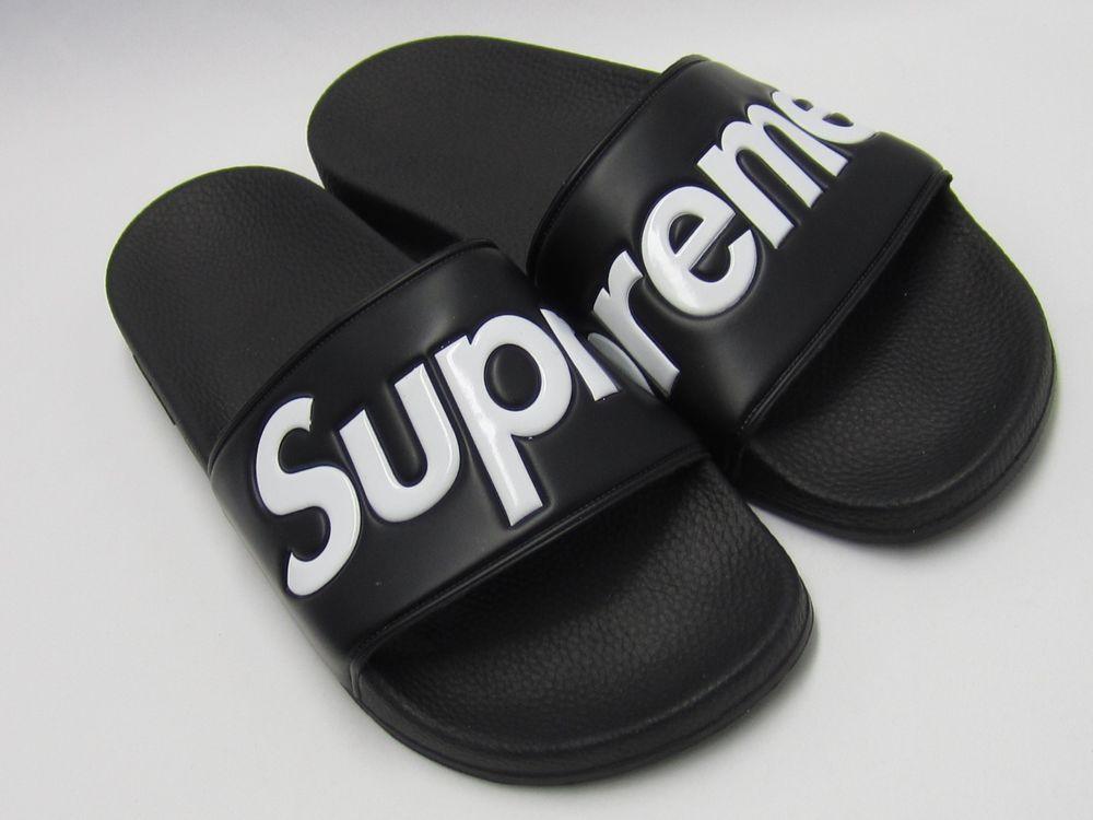 76ea69708f27 SUPREME SANDALS SLIDES FLIP FLOP 9 SS14 BOX LOGO BLACK DS NEW 100%  AUTHENTIC  Supreme  Sandals