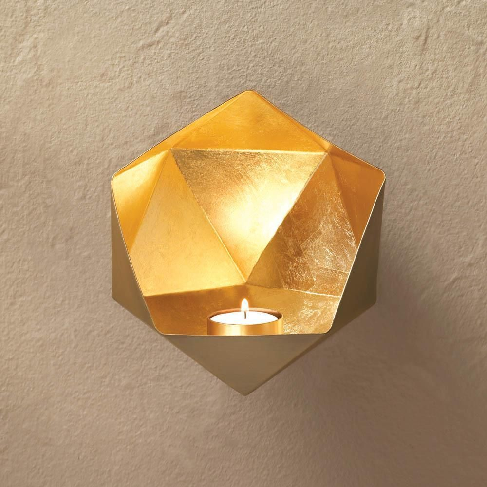 gold metal Modern art Artisanal geometric Sconce WALL pocket candle ...