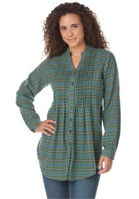 plus size top in plaid flannel with long tunic shape #womanwithin