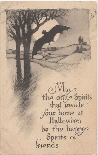 Vintage Halloween Card With Cute Bat