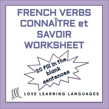 Connatre Or Savoir French Worksheet French Verbs Worksheets And