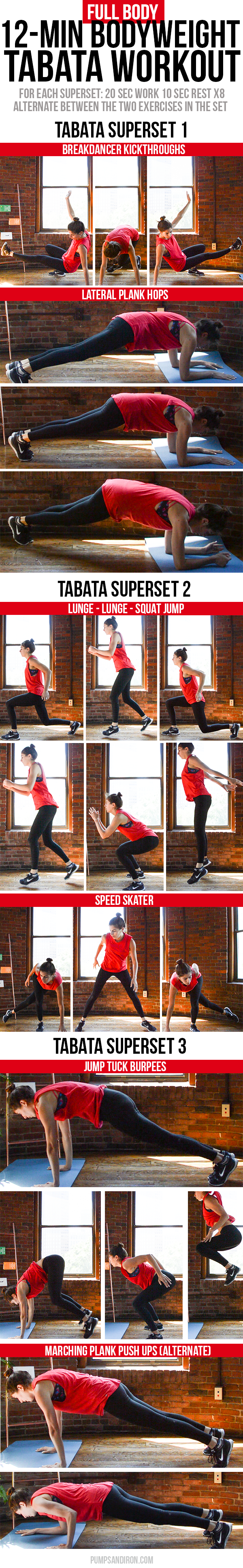 Full-Body & Cardio Tabata Workout - 12 minute long and made up of three tabata supersets of bodyweight exercises