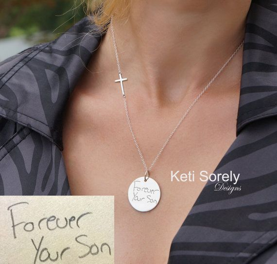 10k 14k Or 18k Solid Gold Monogram Disc Necklace With Etsy Engraved Handwriting Disc Necklace Gold And Silver Bracelets