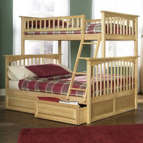 Columbia Twin Over Full Bunk Bed In Natural Maple Bunk Beds