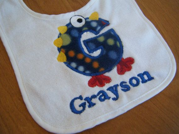 Hey, I found this really awesome Etsy listing at https://www.etsy.com/listing/151601589/personalized-monster-bib-monster
