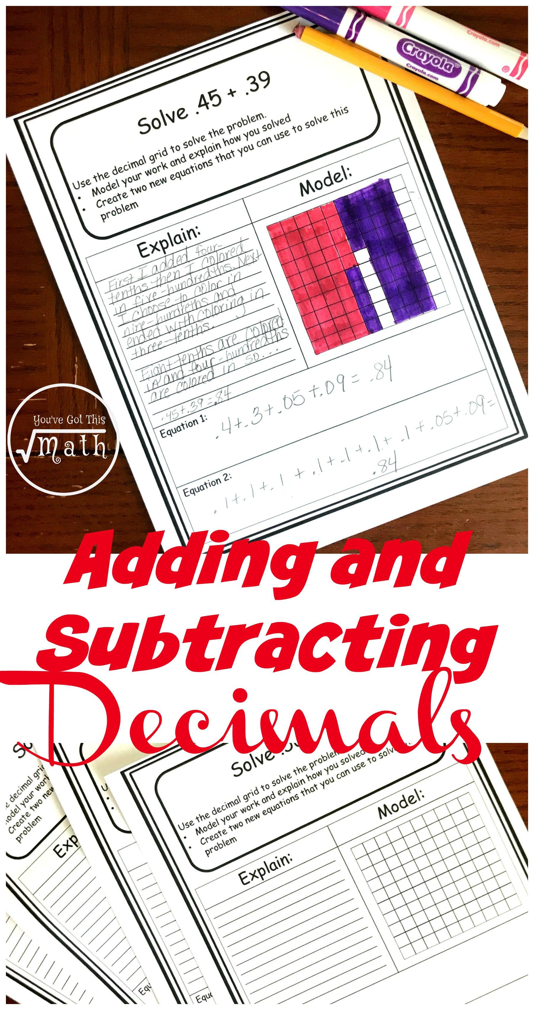 Free Decimal Addition And Subtraction Worksheets Using