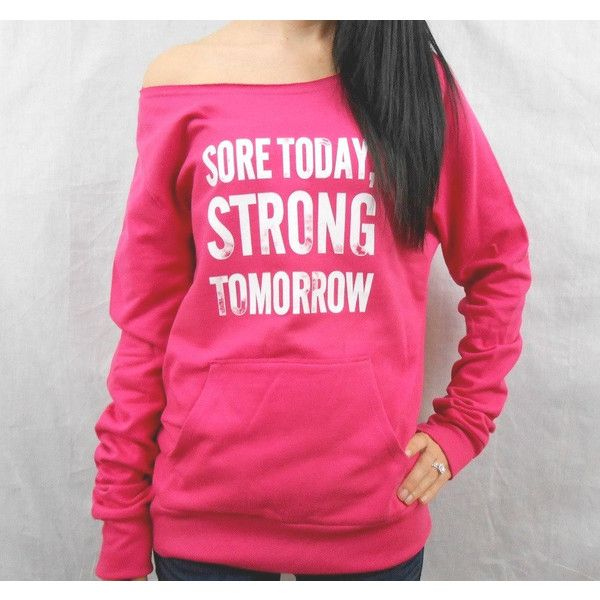 Sore Today Strong Tomorrow Off-Shoulder Sweatshirt Slouchy Sweater... ($36) ❤ liked on Polyvore featuring tops, hoodies, sweatshirts, grey, women's clothing, off the shoulder tops, vintage hoodies, off-the-shoulder sweatshirt, gray hoodie and vintage hoodie