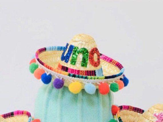 ✓️Mini straw sombrero for a siesta or taco party! Festive multi color pom  trim!!The perfect accessory!  firstbirthdayparty  firstbirthdaythemes ... 515d3e7fae43