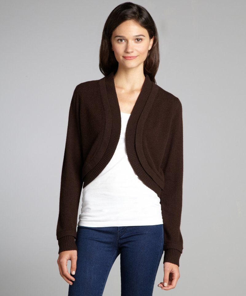 Magaschoni women's dark chocolate cashmere long sleeve bolero ...