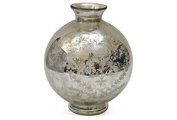 Large Round Mercury Glass Vase On Onekingslane C2 Art Shapes