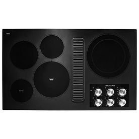 Kitchenaid 36 In 5 Elements Smooth Surface Radiant Black Electric Cooktop With Downdraft Exhaust Common 36 In Actual 36 3125 In Lowes Com Electric Cooktop Downdraft Cooktop Cooktop