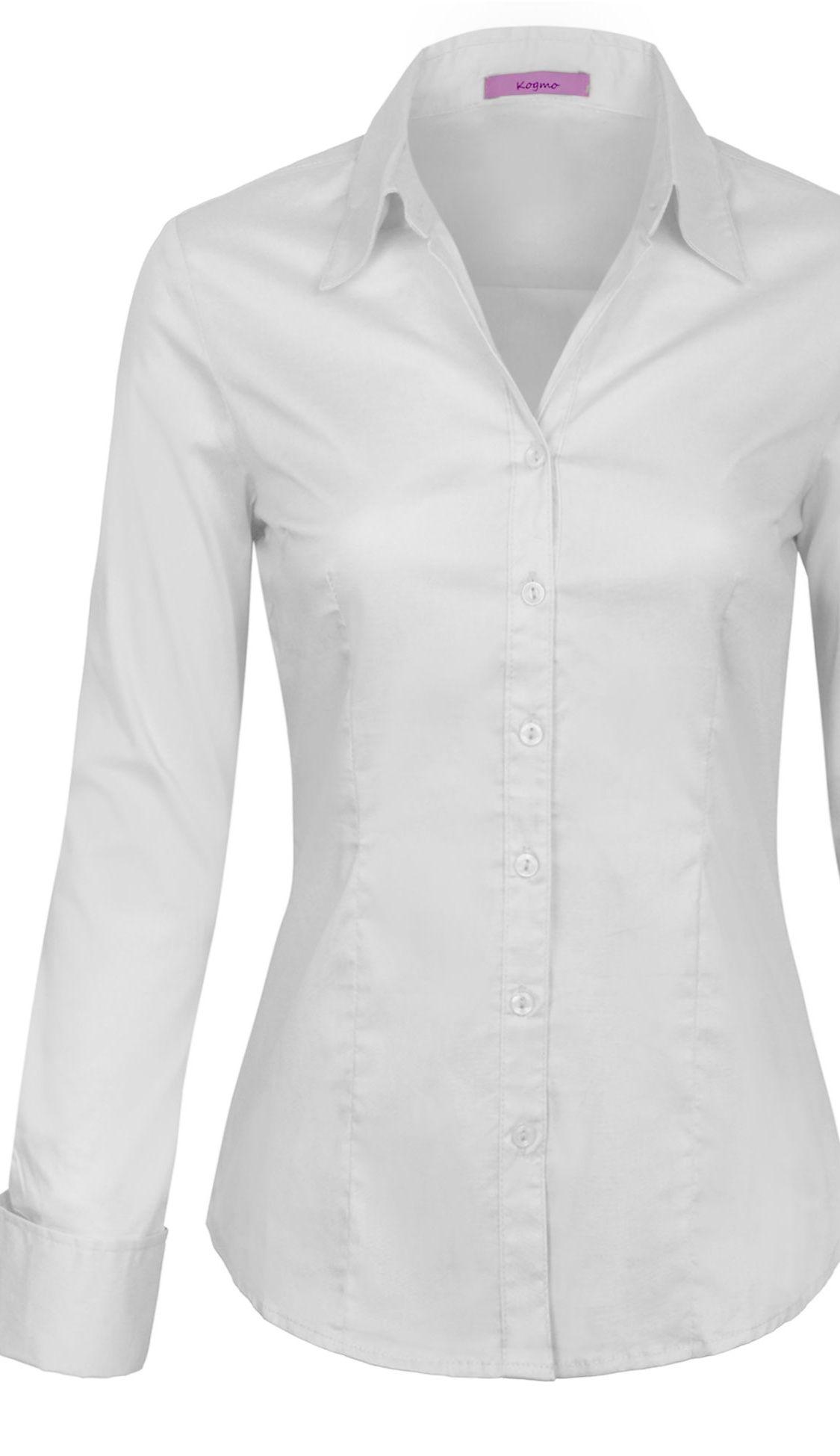 Kogmo Kogmo Womens Basic Long Sleeve Button Down Shirts Office Work Blouse S 3x Walmart Com Basic Long Sleeve Work Blouse Blouse S [ 1949 x 1125 Pixel ]