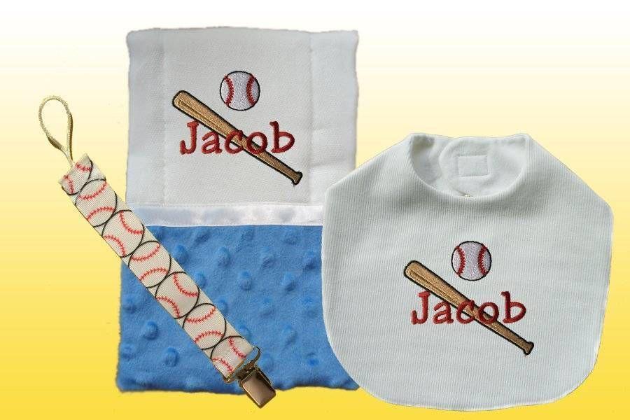 New Personalized Handmade Baseball Blue Bib, Burp Cloth ...