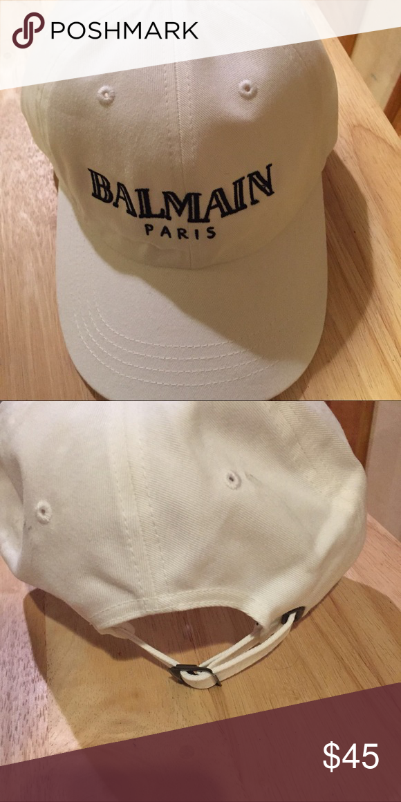 7405e7bb3c9 Balmain white dad hat Balmain white Paris logo handmade dad hat, cap  Balmain Accessories Hats