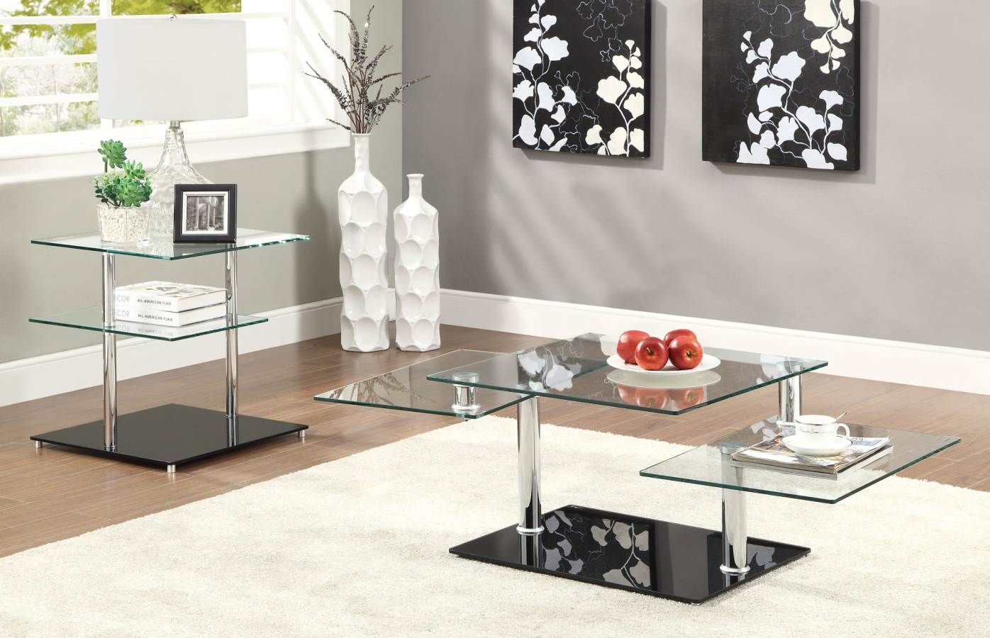Contemporary Glass And Chrome Coffee Table Set Coffee Table Home Coffee Tables Coffee Table Setting [ 900 x 1396 Pixel ]