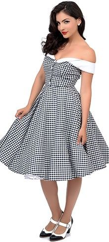 7e07166810f1 Hell Bunny 1950s Style Black   White Gingham Off Shoulder Mary Ann Swing  Dress
