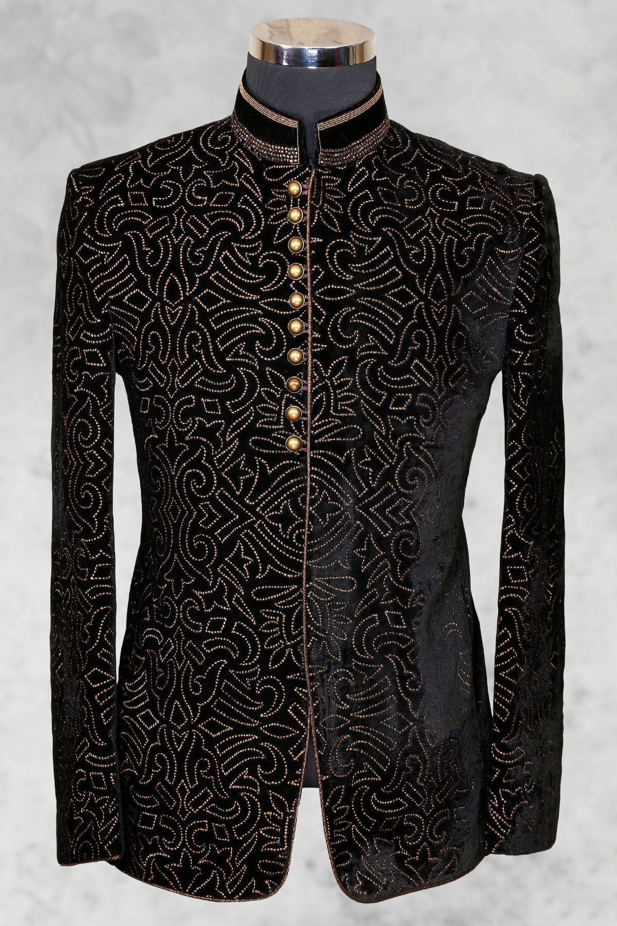 Buy Black Velvet Bead Embroidered Jodhpuri Suit Online 644cf4d573c