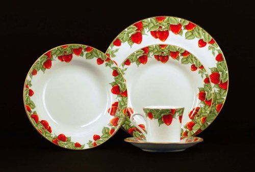Strawberry Kitchen Dinner Plates | Euland China DS1-001S Strawberries Dinnerware Set - Service For 8 & Strawberry Kitchen Dinner Plates | Euland China DS1-001S ...