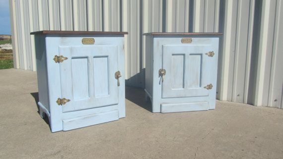 Refinished White Clad Icebox End Tables Night Stands 85 End Tables Refinishing Furniture Painted Furniture