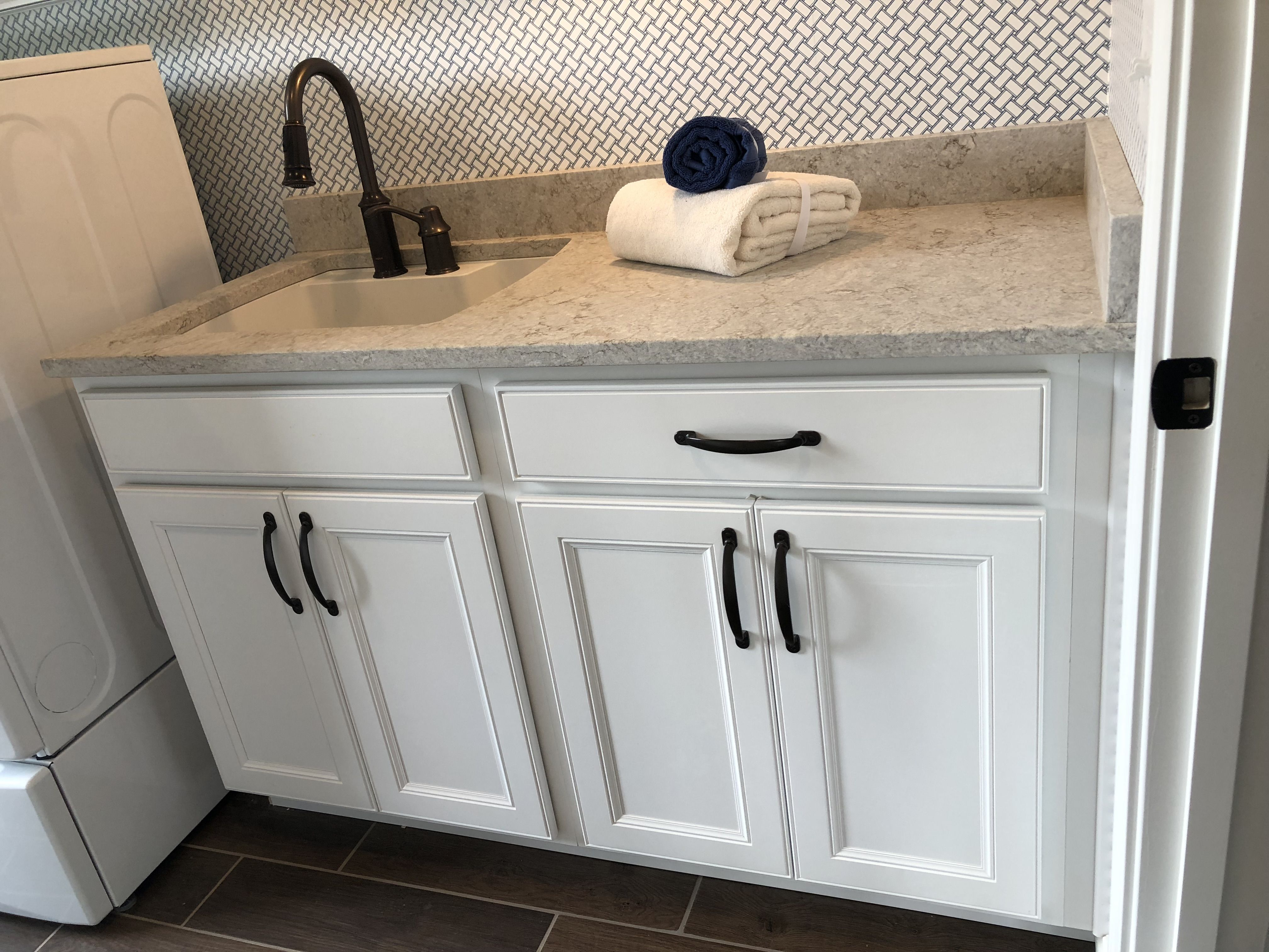 Landen Painted White Sink Base Laundry Room Cabinets With Gray