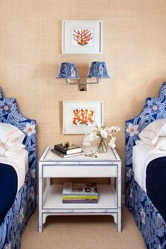 Love the trim on the bedside table in this Kathy Abbott Interiors bedroom.....