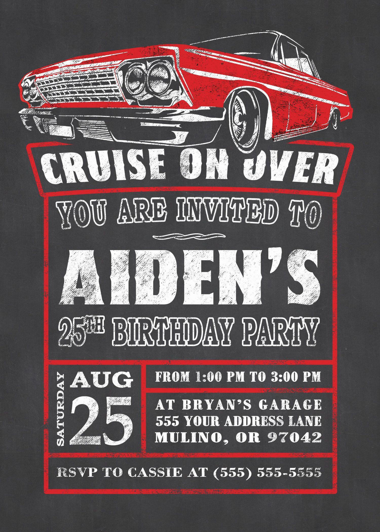 Impala Birthday Invitation, 1963 Impala, Classic Car invite, Low Rider, Chalkboard Style, Hot Rod Party, Impala, Chevy Impala