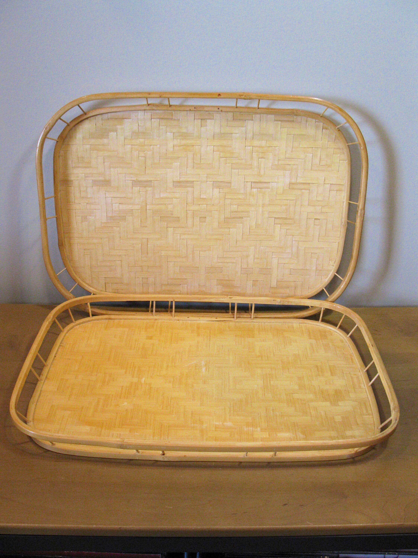 Set Of 2 Bamboo Trays Wicker Bed Breakfast Lap Trays Retro Serving Trays Tiki Bar Dinner Tray Patio Tray Vintage Bamboo Tray 60s In 2020 Dinner Tray Tiki Bar Lap Tray