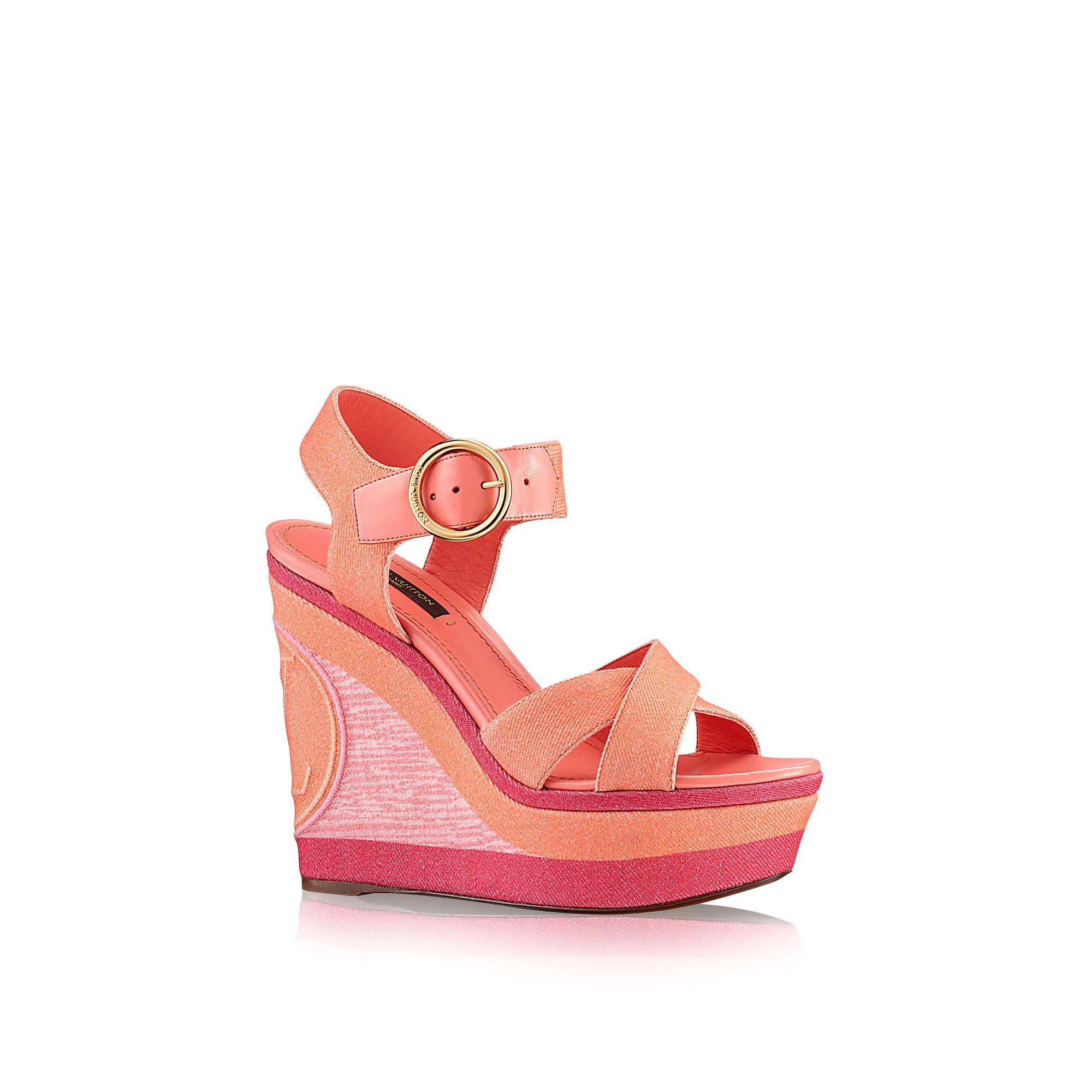 c5ce6bde6f0 Discover Louis Vuitton Blue Shore Wedge Sandal via Louis Vuitton. Louis  Vuitton ShoesShoe .