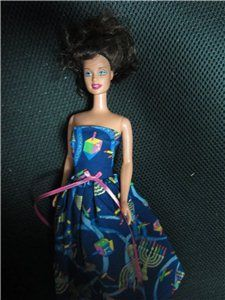 Jewish Barbie Doll With Menorah & Dreidel Motif Dress Hanukkah Judaica KOOKYKITSCH.COM   You're ...